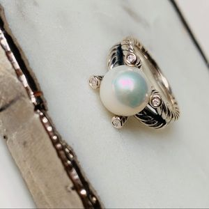 David Yurman Cable Pearl Ring with Diamonds 7 NEW